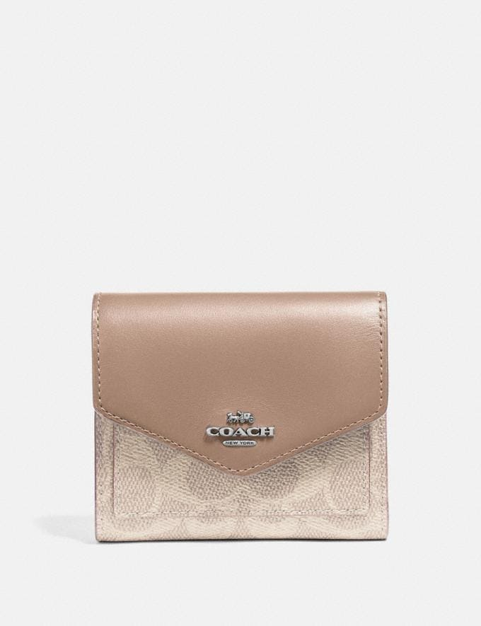 Coach Small Wallet in Colorblock Signature Canvas Lh/Sand Taupe Women Wallets & Wristlets Small Wallets