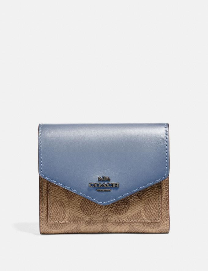 Coach Small Wallet in Colorblock Signature Canvas Pewter/Tan Bluebell Gifts For Her Under $100