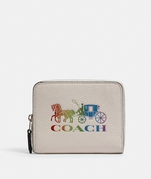 SMALL ZIP AROUND WALLET WITH RAINBOW HORSE AND CARRIAGE