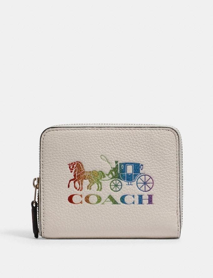Coach Small Zip Around Wallet With Rainbow Horse and Carriage Im/Chalk Multi
