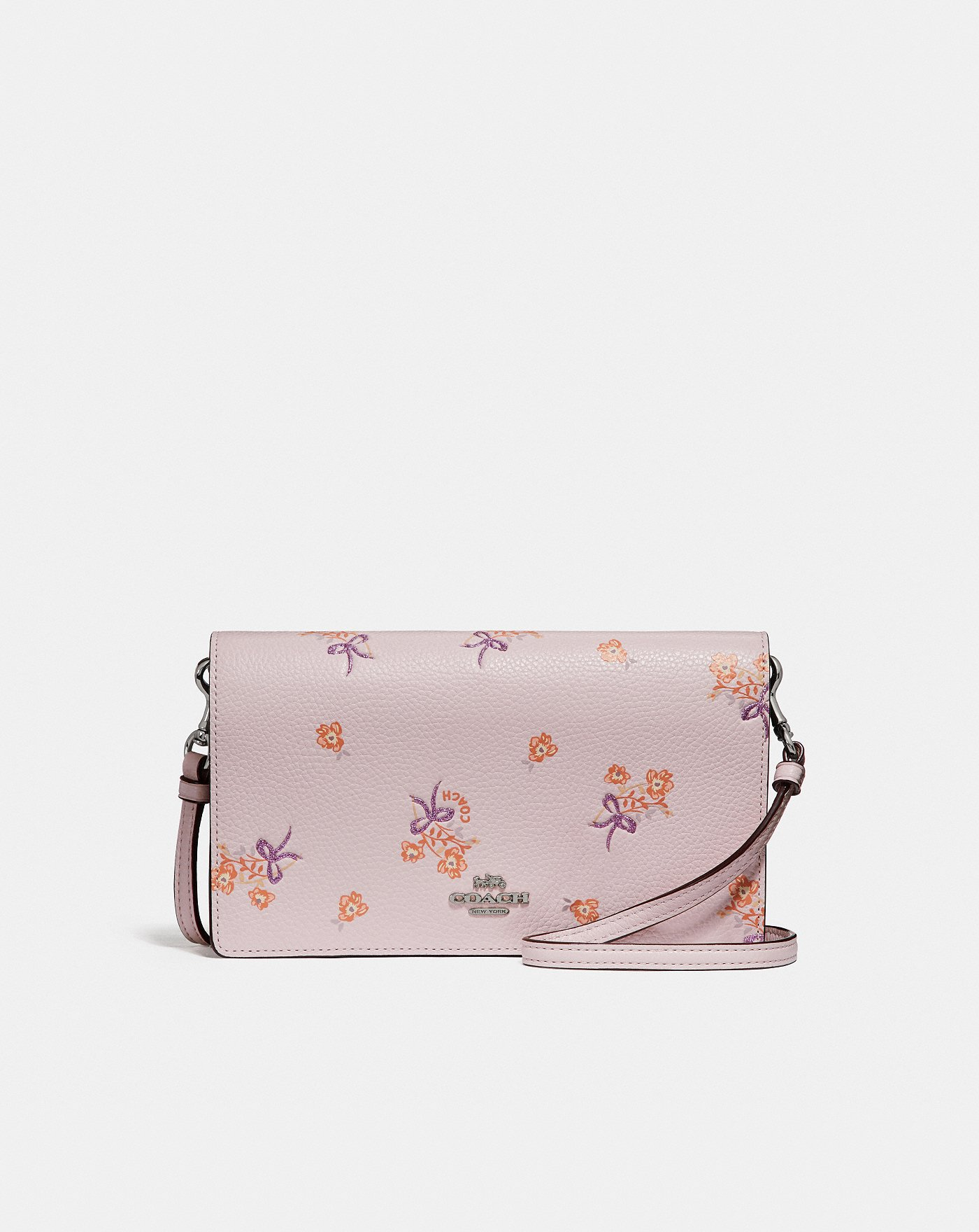 Coach Hayden Foldover Crossbody Clutch With Floral Bow Print Swagger 20 In Pebbled Leather Peach