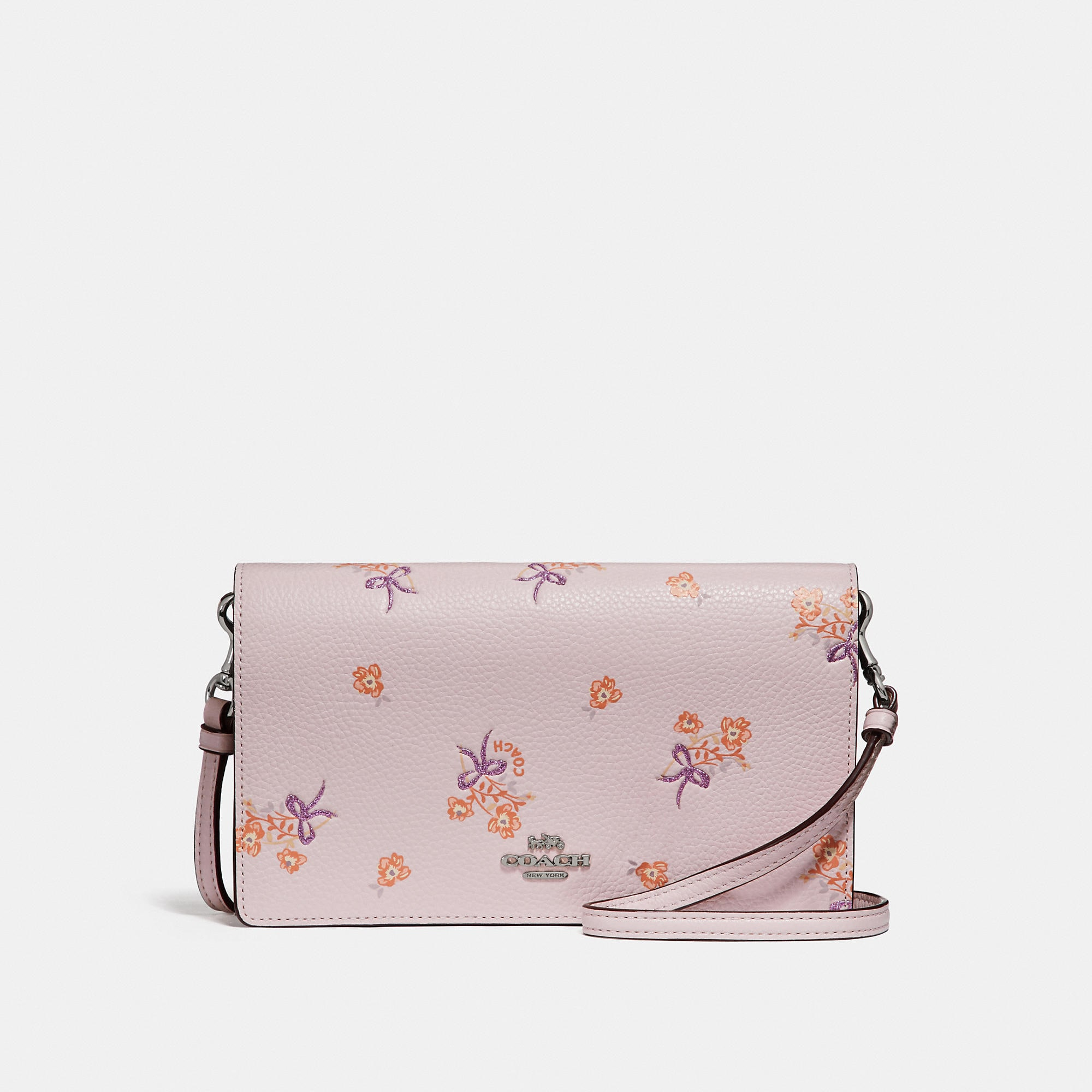 Coach Foldover Crossbody Clutch With Floral Bow Print Womens In