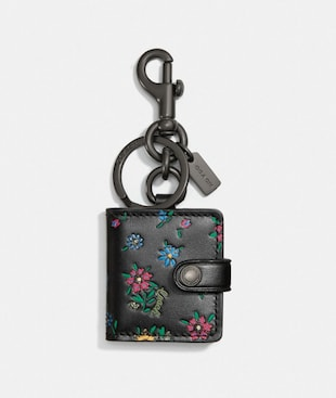 PICTURE FRAME BAG CHARM WITH WILDFLOWER PRINT