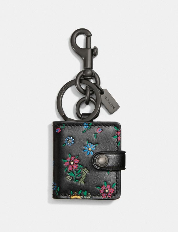Coach Picture Frame Bag Charm With Wildflower Print V5/Black/Wine New Women's New Arrivals Accessories