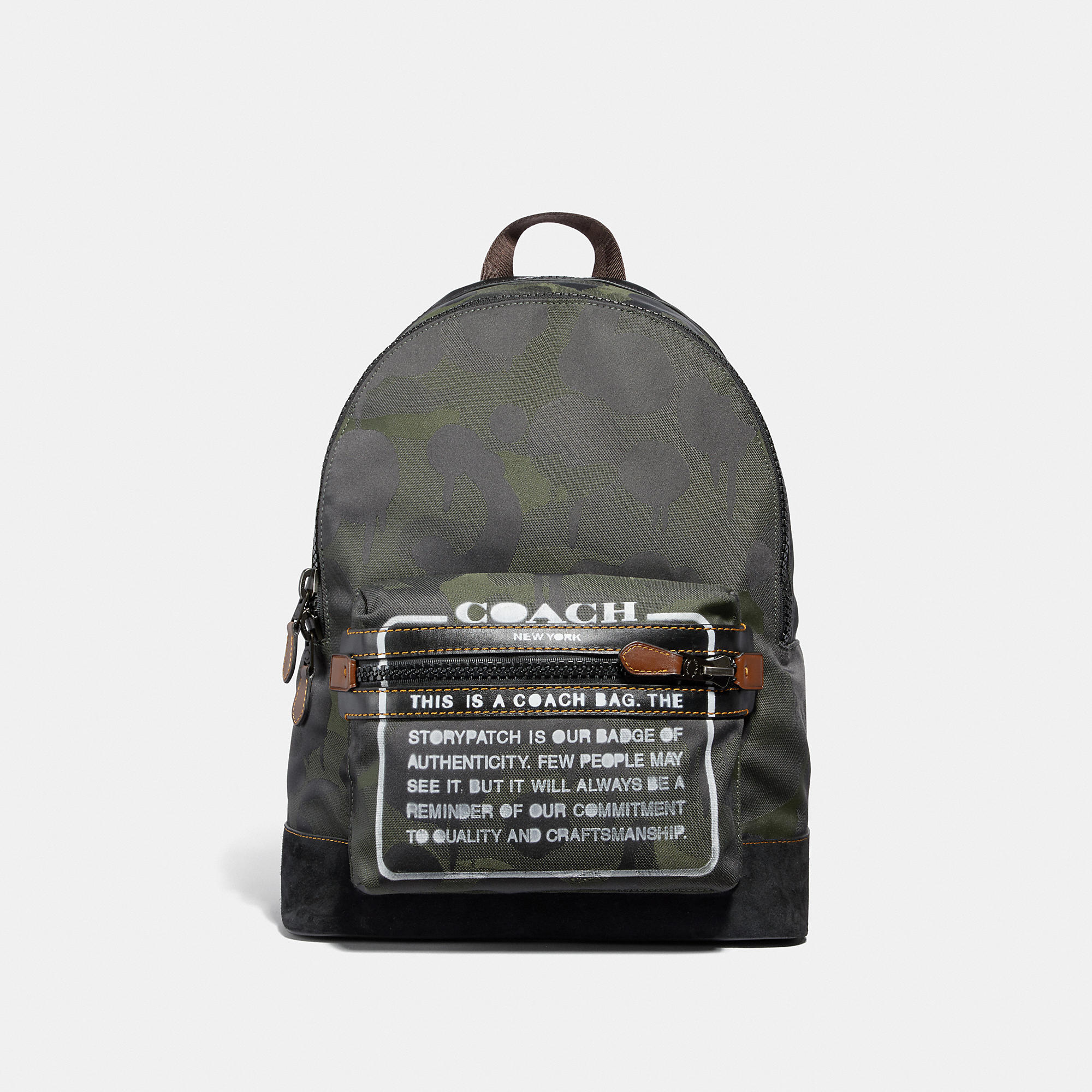 Coach Academy Backpack In Cordura Fabric With Wild Beast Print And Storypatch