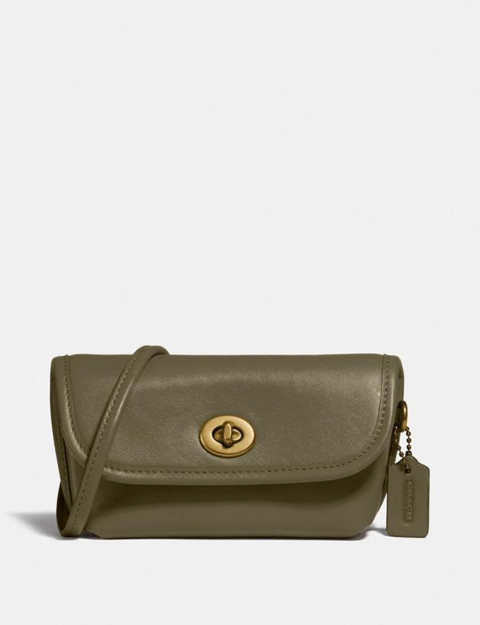 Coach Turnlock Flare Belt Bag Brass/Washed Utility New Women's New Arrivals Collection