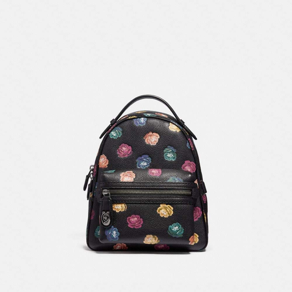 campus backpack 23 in polished pebble leather with rainbow rose print