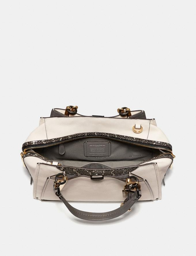 Coach Dreamer With Snakeskin Detail Chalk/Light Gold Women Bags Satchels Alternate View 2