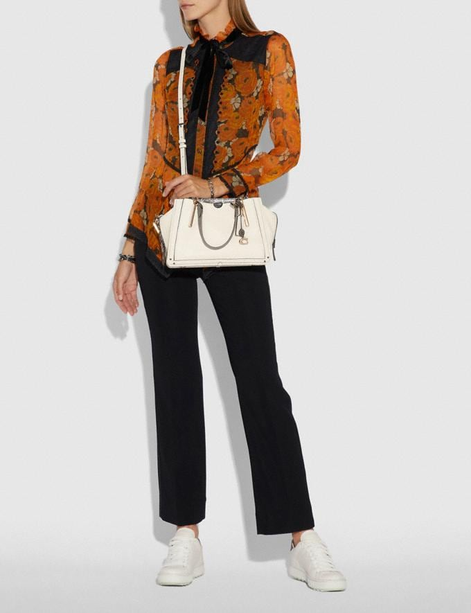 Coach Dreamer With Snakeskin Detail Chalk/Light Gold Women Bags Satchels Alternate View 3