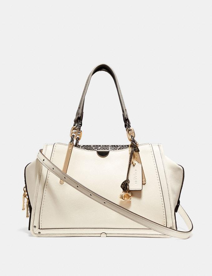 Coach Dreamer With Snakeskin Detail Chalk/Light Gold Women Bags Satchels