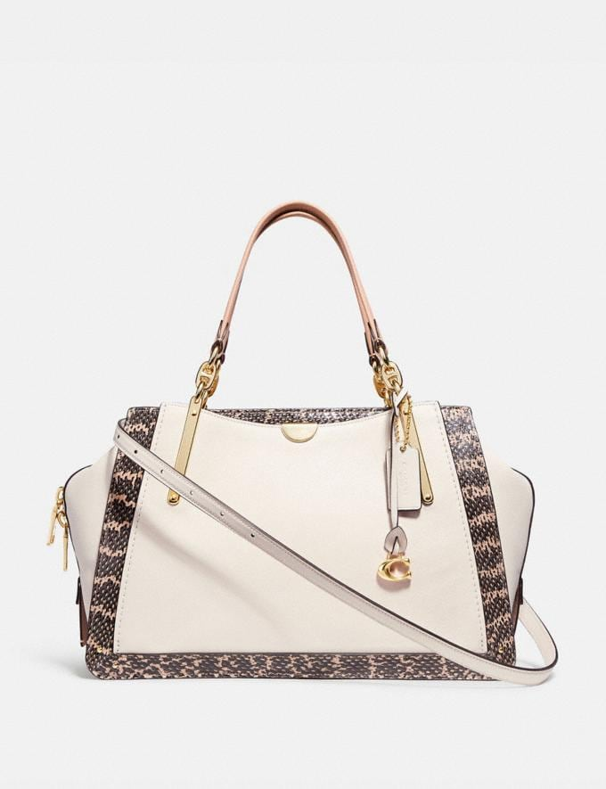 Coach Dreamer 36 in Colorblock With Genuine Snakeskin Detail Chalk Multi/Light Gold Women Bags Satchels & Carryalls