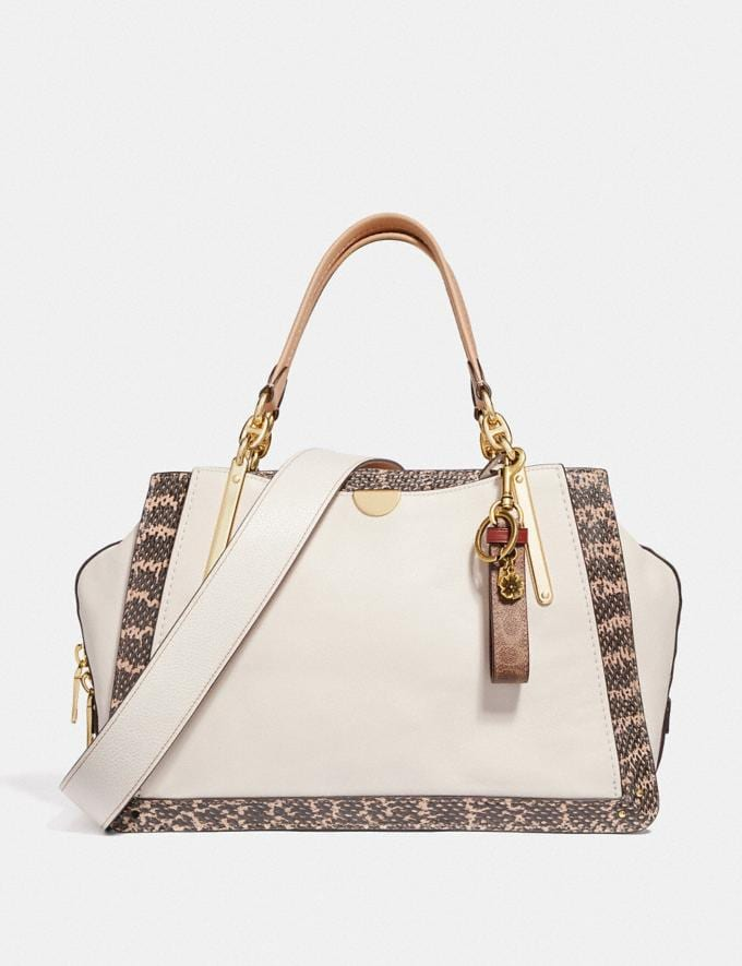 Coach Dreamer 36 in Colorblock With Genuine Snakeskin Detail Chalk Multi/Light Gold Women Bags Satchels & Carryalls Alternate View 3