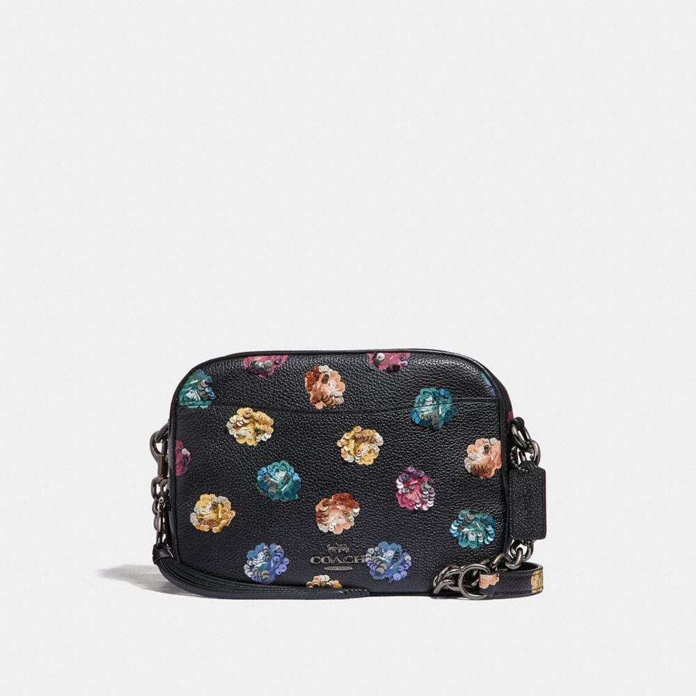 CAMERA BAG WITH EMBELLISHED RAINBOW ROSE PRINT