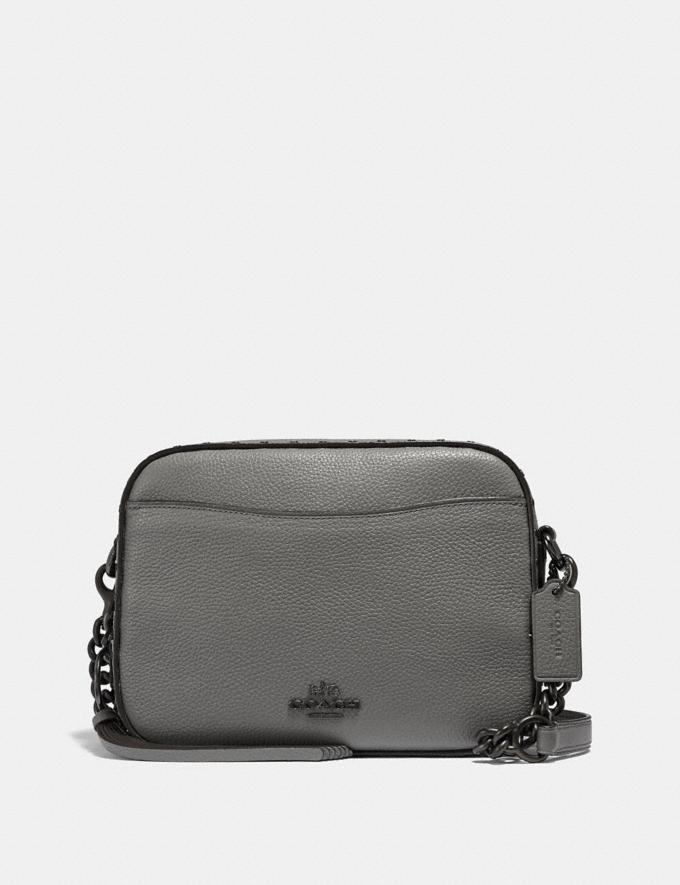 Coach Camera Bag With Rivets Heather Grey/Black Copper New Featured Online-Only