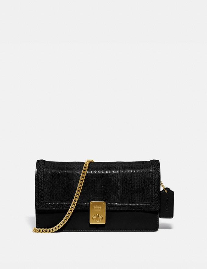 Coach Hutton Clutch in Snakeskin Brass/Black Mujer Bolsos Bolsos de mano