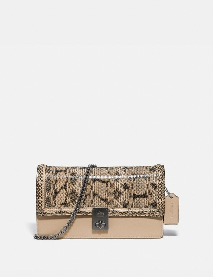 Coach Hutton Clutch in Snakeskin Pewter/Neutral Women Bags Clutches