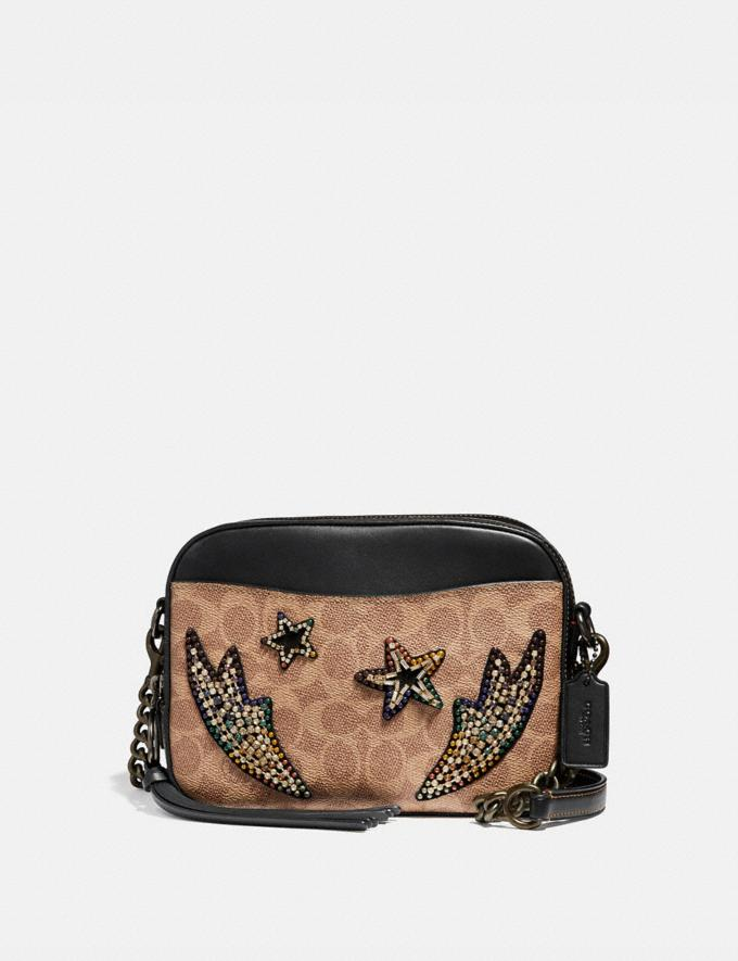 Coach Camera Bag in Signature Canvas With Rainbow Crystal Embellishments Tan/Black Multi/Black Copper Women Bags Crossbody Bags