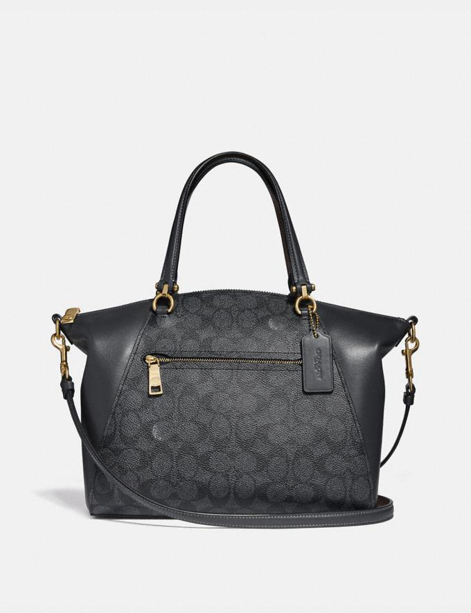 Coach Prairie Satchel in Signature Canvas Charcoal/Midnight Navy/Light Gold Personalise Personalise It Monogram For Her