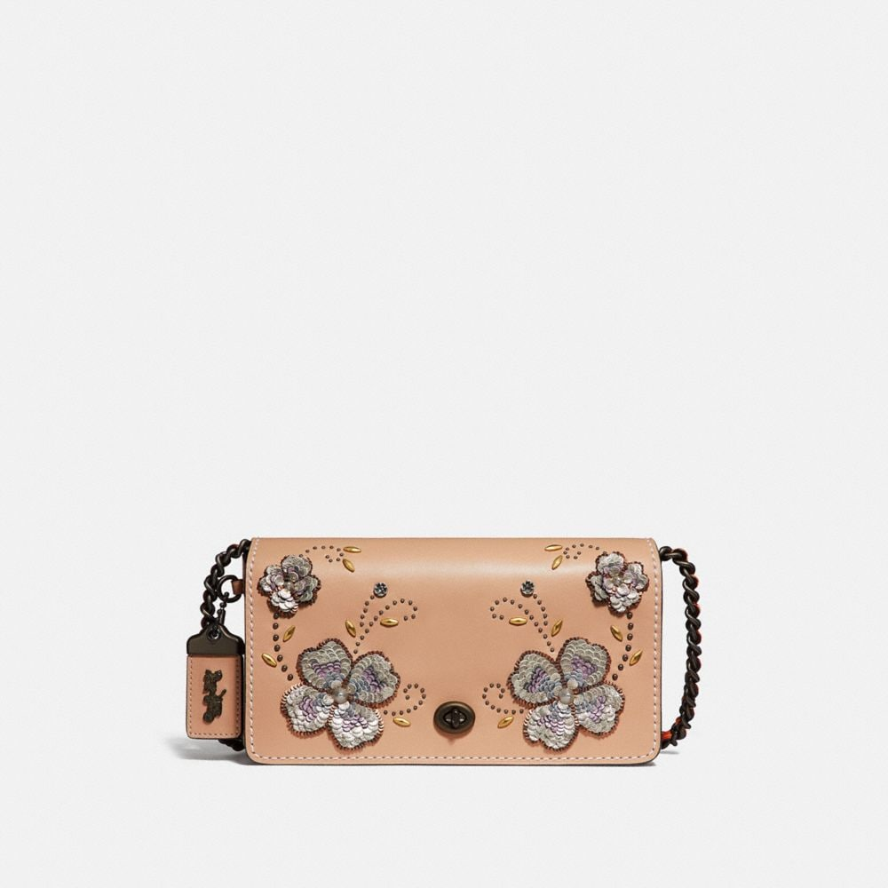 Coach Dinky With Leather Sequin Applique