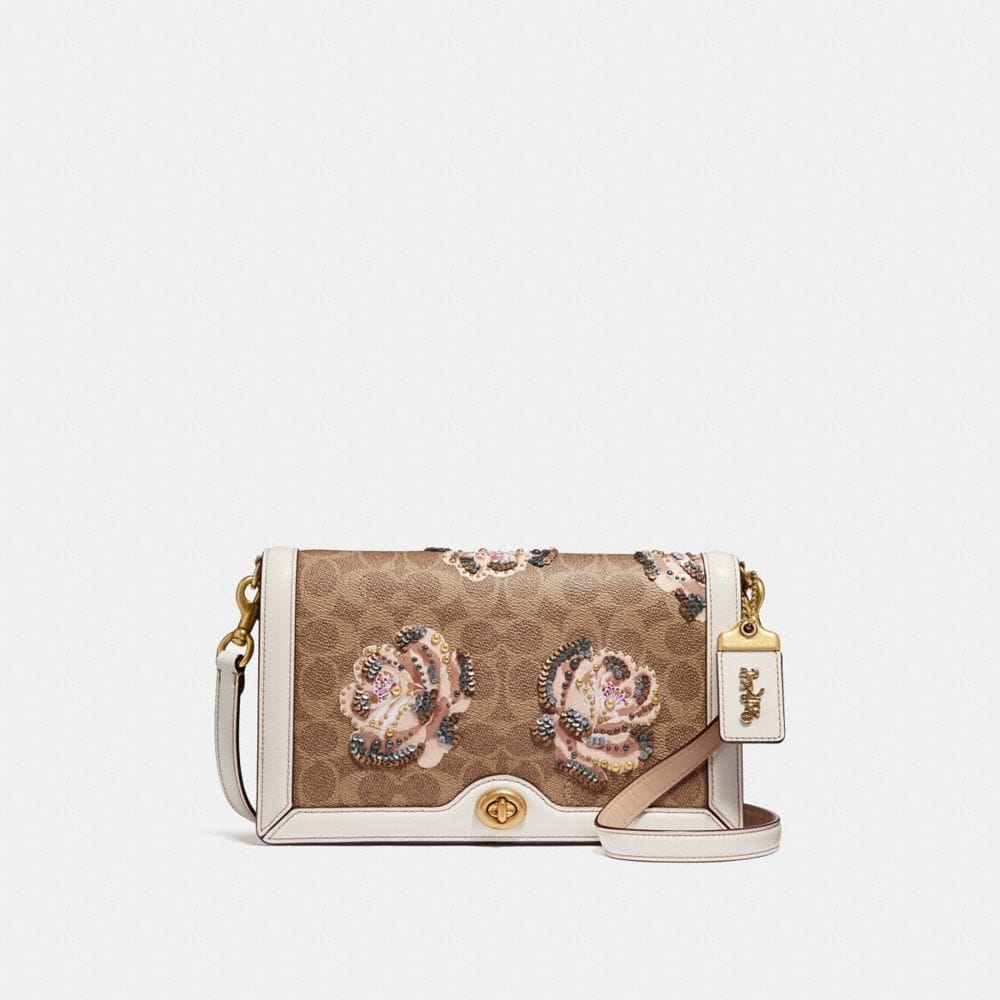 Coach Riley Crossbody in Embellished Signature Rose Print