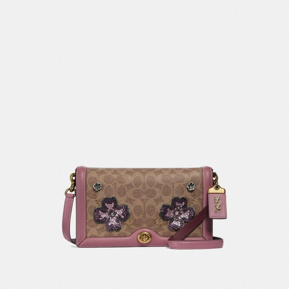 RILEY CROSSBODY IN SIGNATURE CANVAS WITH LEATHER SEQUIN APPLIQUE