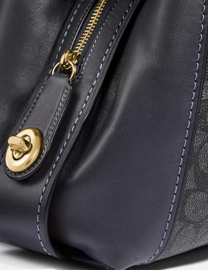Coach Edie Shoulder Bag 31 in Signature Canvas Charcoal/Midnight Navy/Light Gold Women Bags Shoulder Bags Alternate View 4
