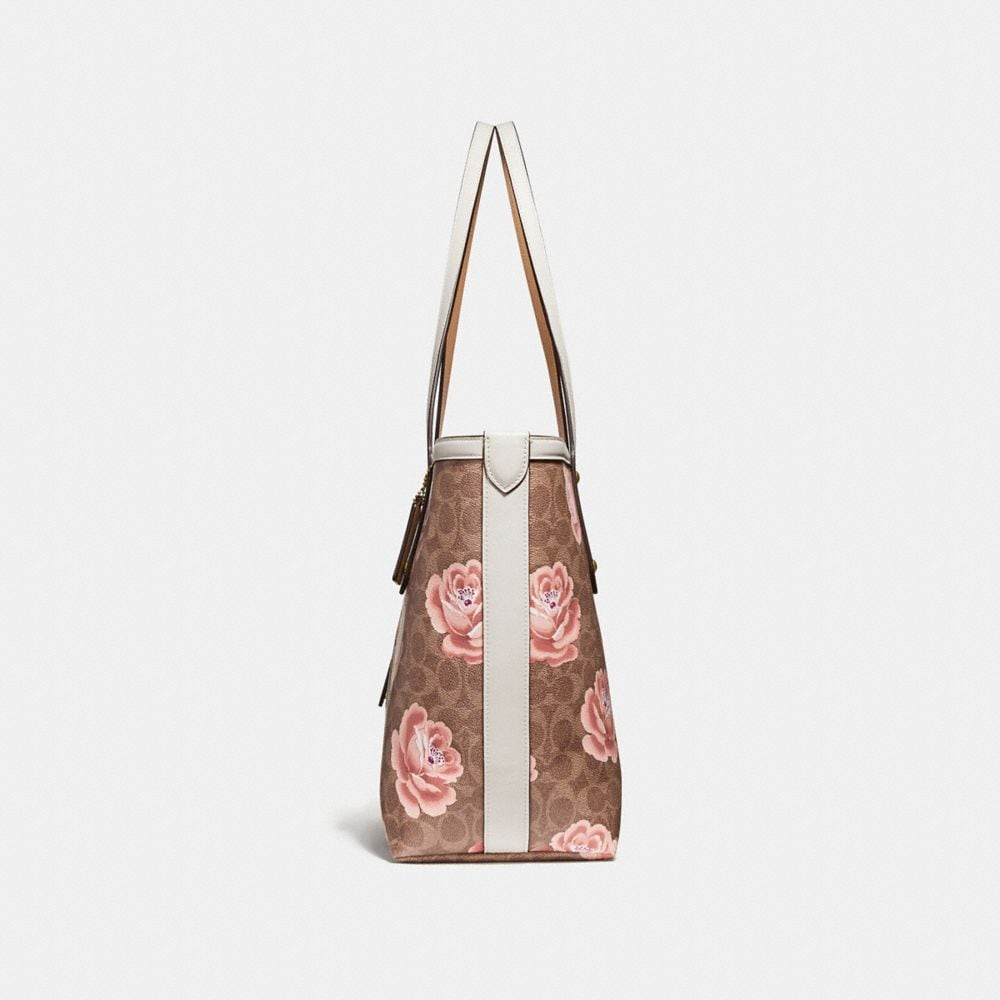 Coach Market Tote in Signature Rose Print Alternate View 1