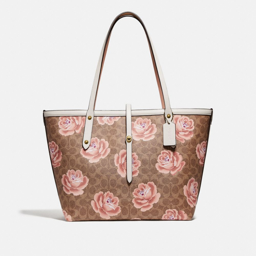 Coach Market Tote in Signature Rose Print