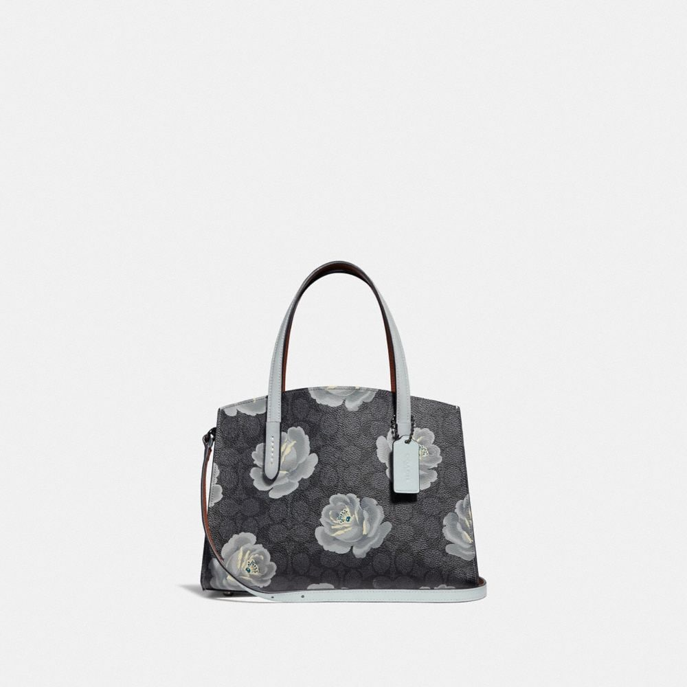 Coach Charlie Carryall 28 in Signature Rose Print