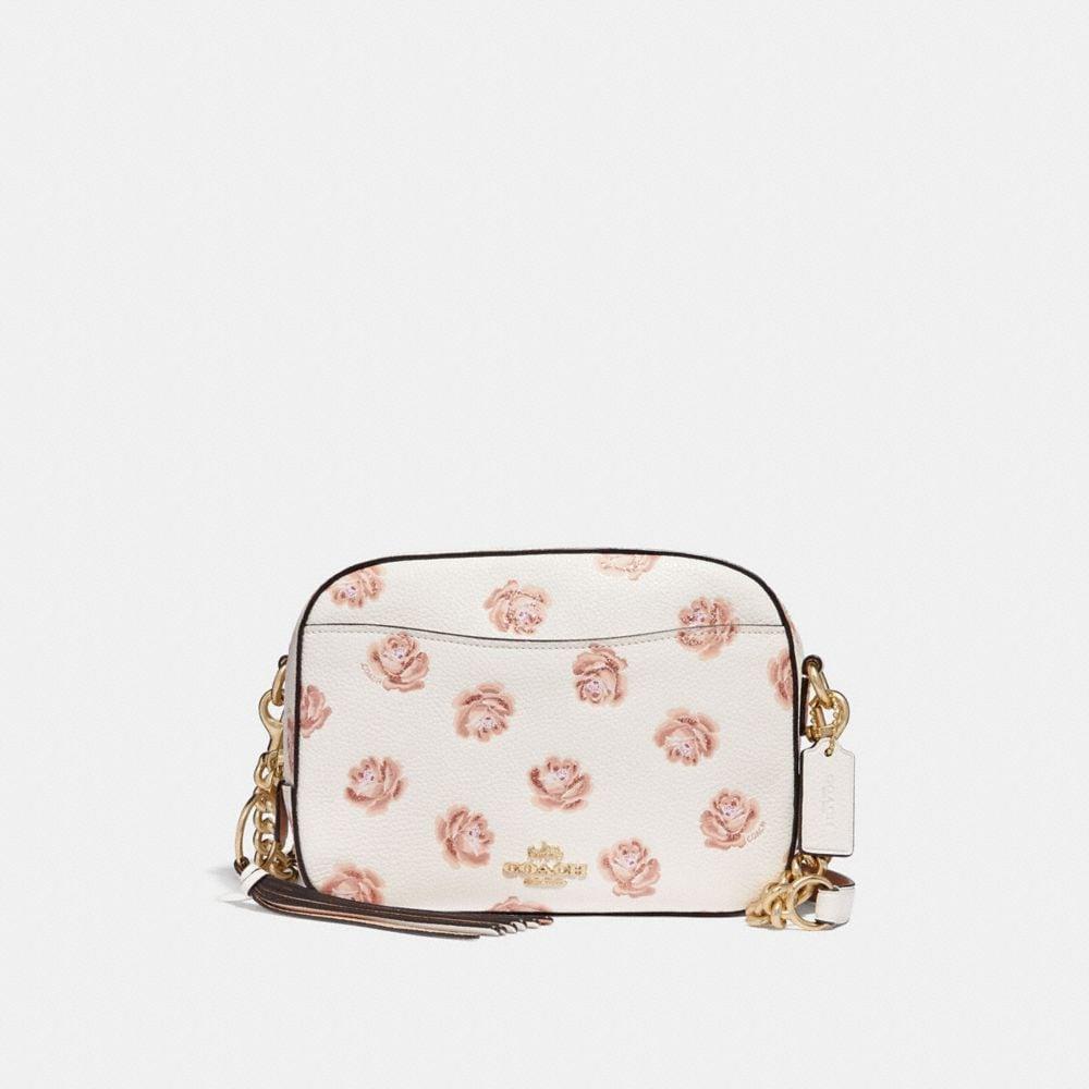 borsa da macchina fotografica con stampa di rosa