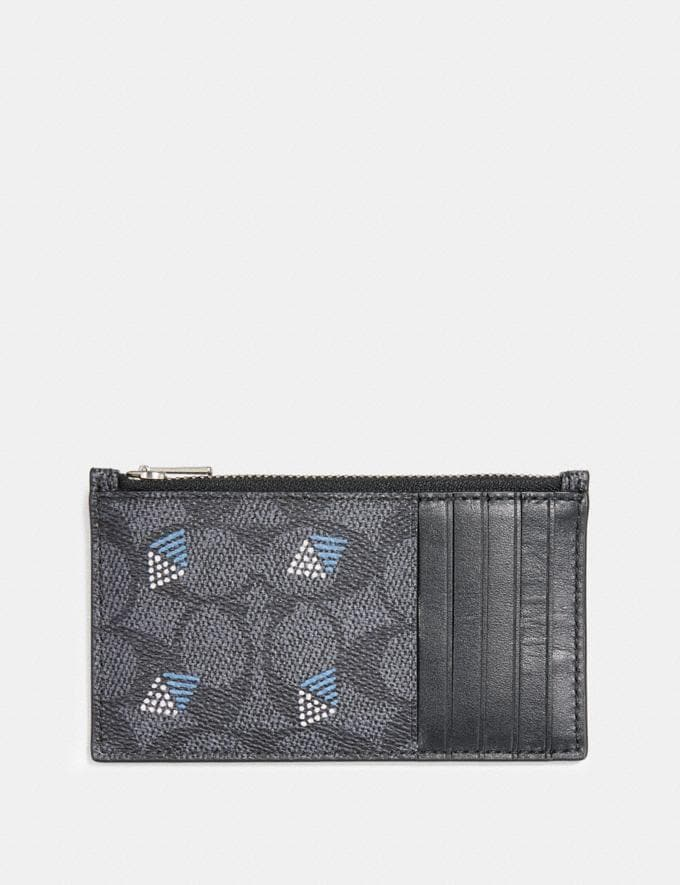 Coach Zip Card Case in Signature Canvas With Dot Diamond Print Charcoal Men Wallets Card Cases