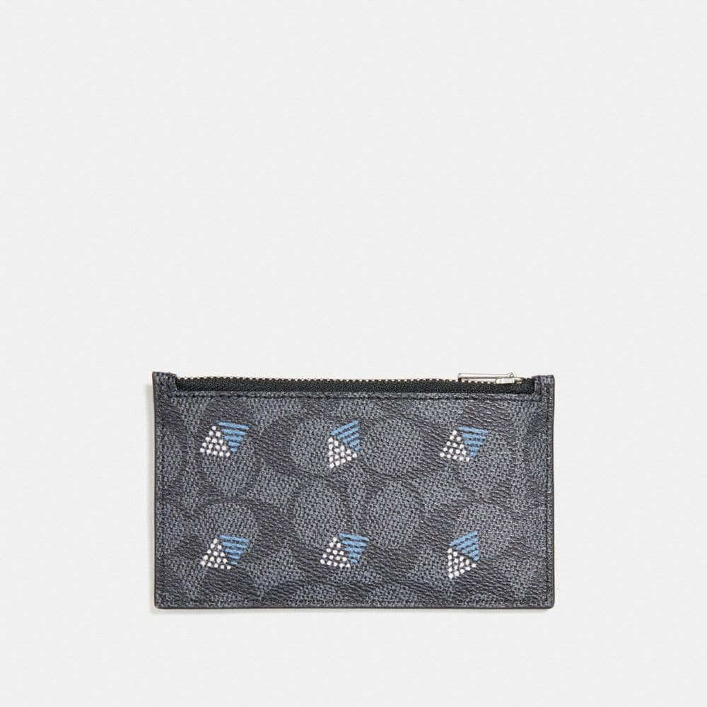 Coach Zip Card Case in Signature Canvas With Dot Diamond Print Alternate View 1