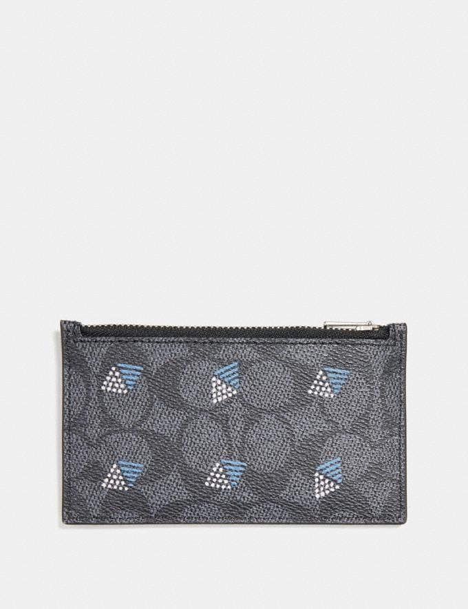 Coach Zip Card Case in Signature Canvas With Dot Diamond Print Charcoal Men Wallets Card Cases Alternate View 1