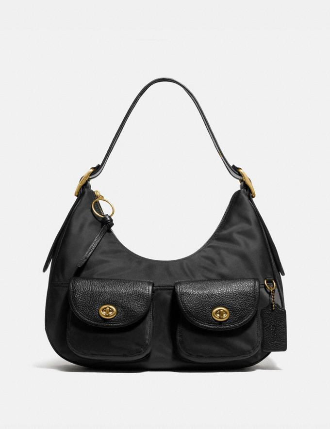 Coach Cargo Hobo With Vintage Rose Print Interior Brass/Black Women Handbags Shoulder Bags & Hobos