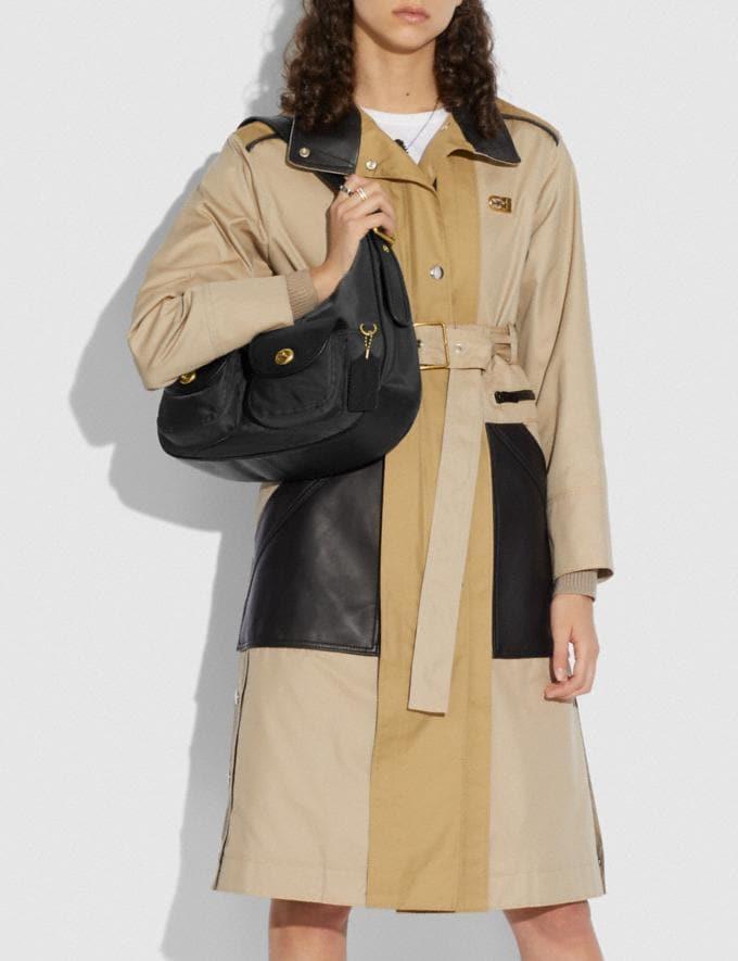 Coach Cargo Hobo With Vintage Rose Print Interior Brass/Black Women Handbags Shoulder Bags & Hobos Alternate View 4