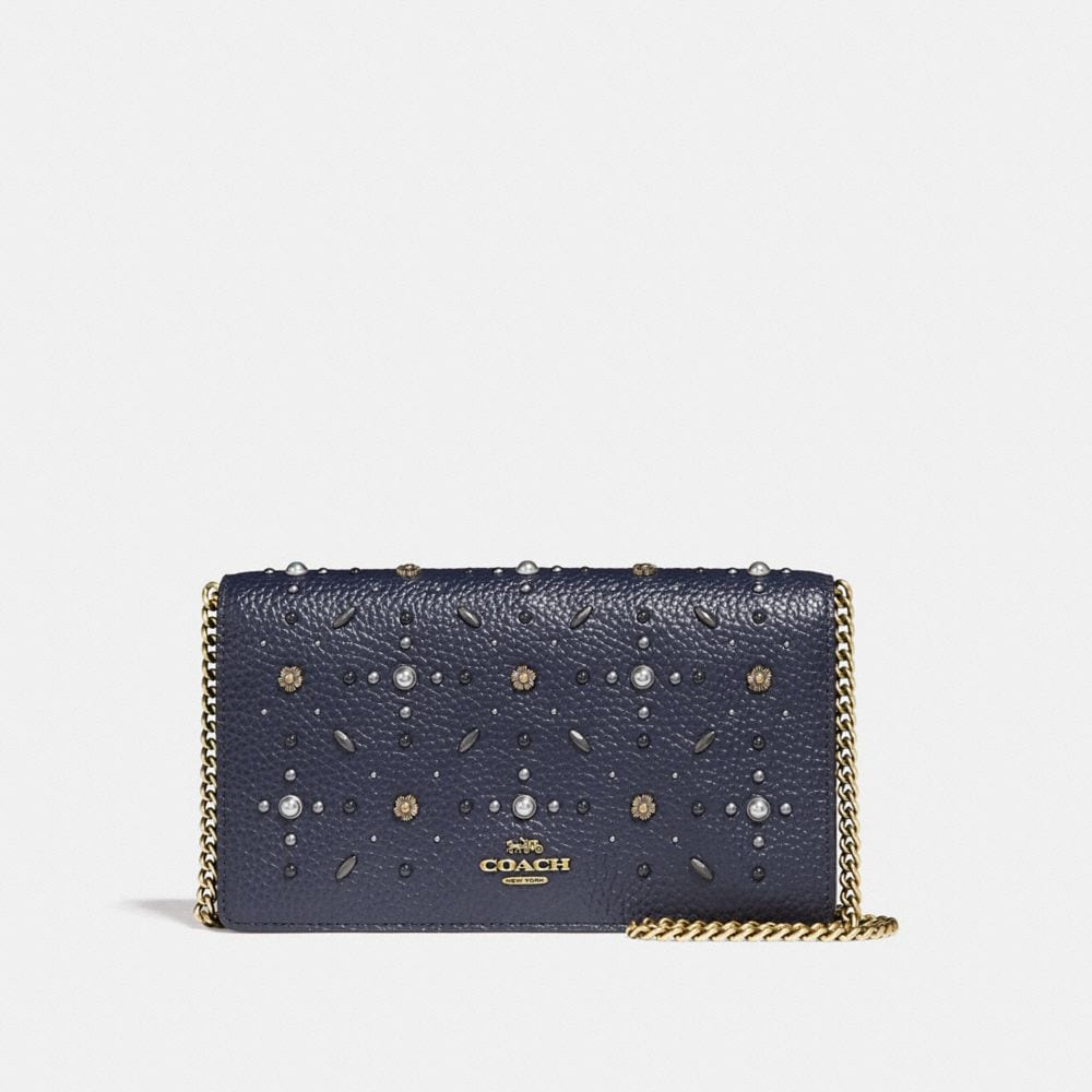 Coach Foldover Chain Clutch With Prairie Rivets