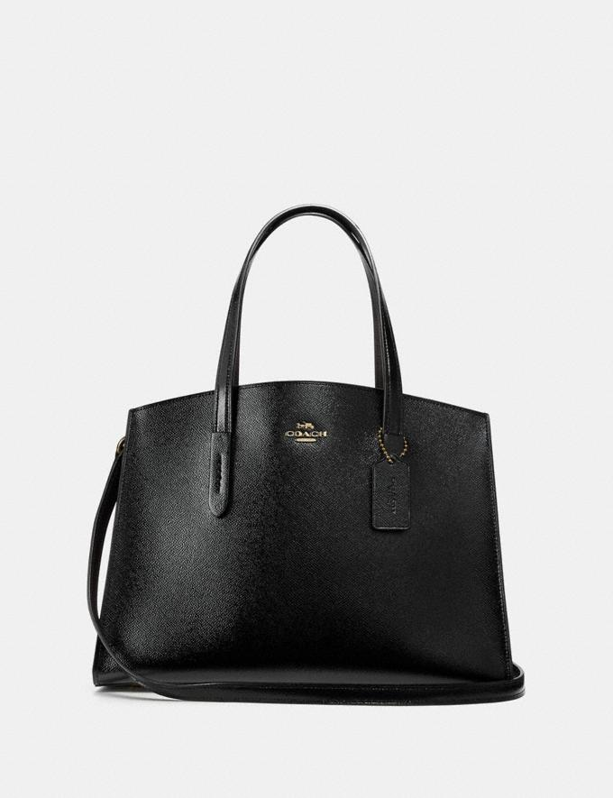 Coach Charlie Carryall Black/Light Gold Women Bags Satchels & Carryalls