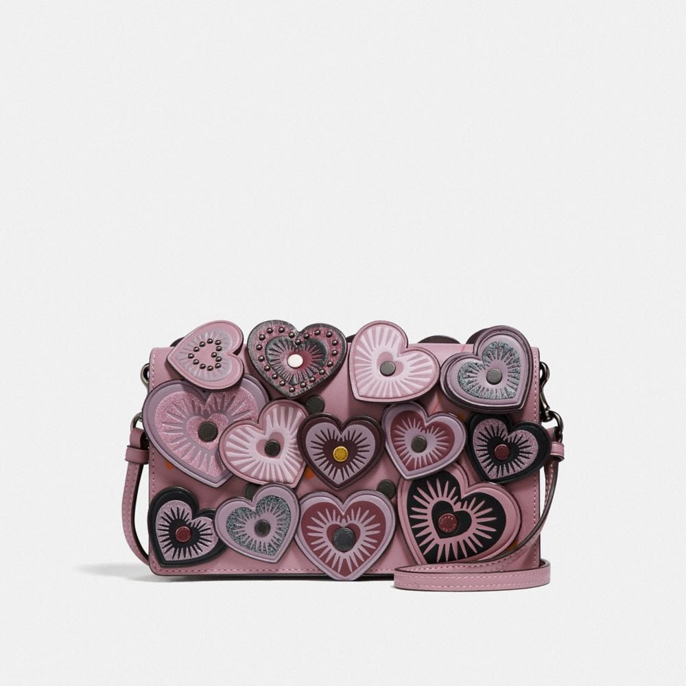 Coach Foldover Crossbody Clutch With Hearts, Dusty Rose/Black Copper