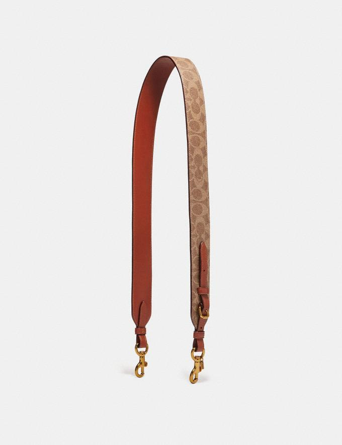 Coach Strap in Signature Canvas Rust/Brass Women Accessories Bag Straps