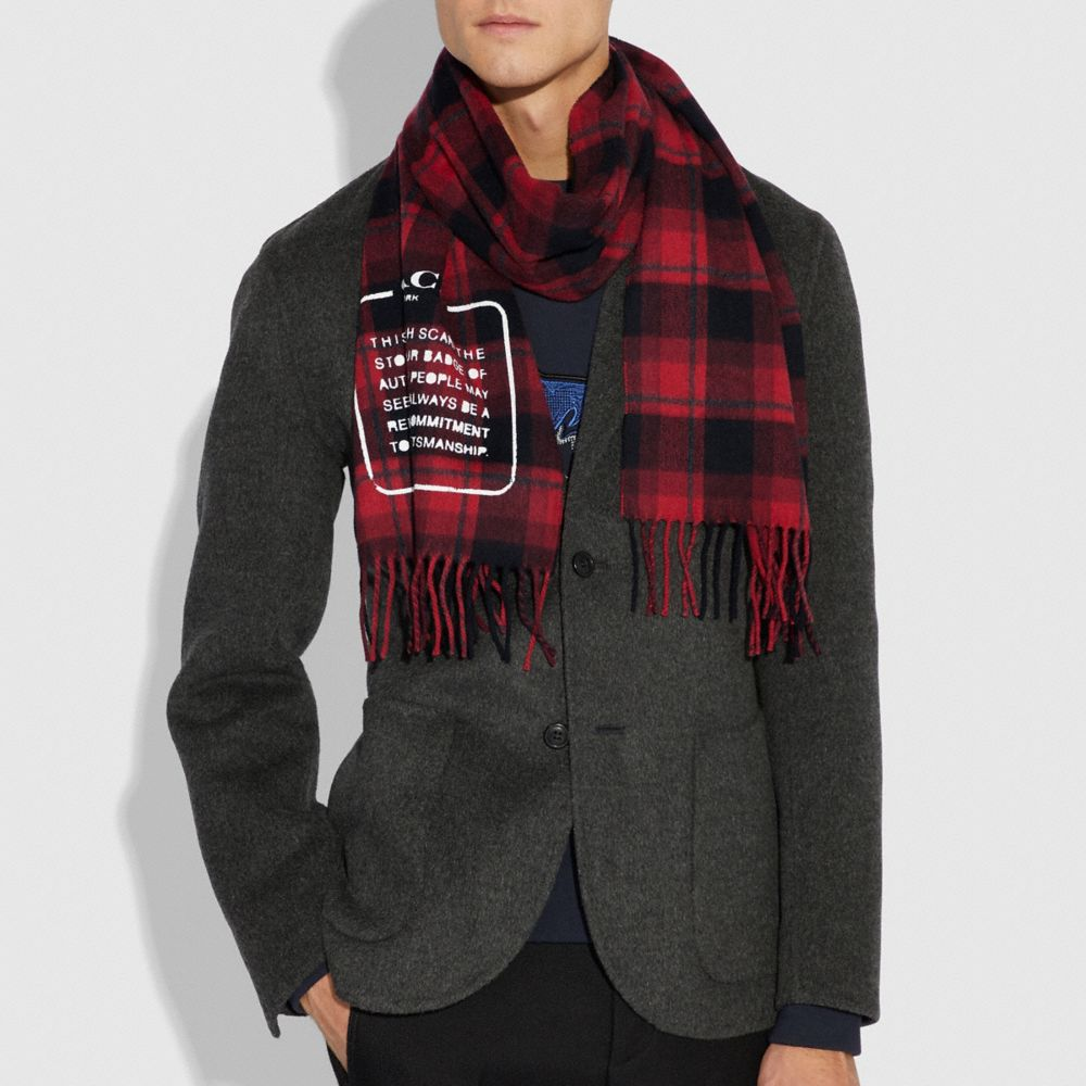 Coach Storypatch Plaid Scarf Alternate View 1