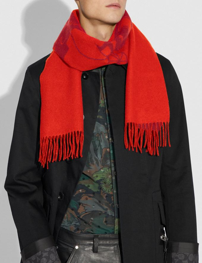Coach Cashmere Bicolor Rexy and Carriage Scarf Crimson Red Orange Men Ready-to-Wear Hats Scarves & Gloves Alternate View 1