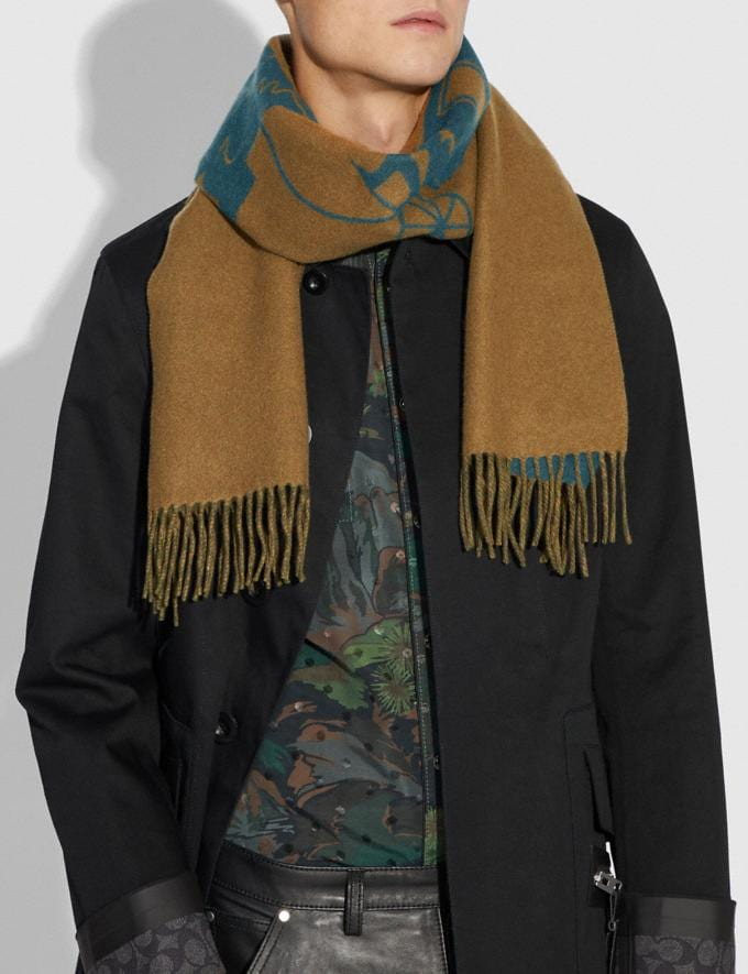 Coach Rexy and Carriage Cashmere Scarf Navy/Amber Men Accessories Hats, Scarves & Gloves Alternate View 1