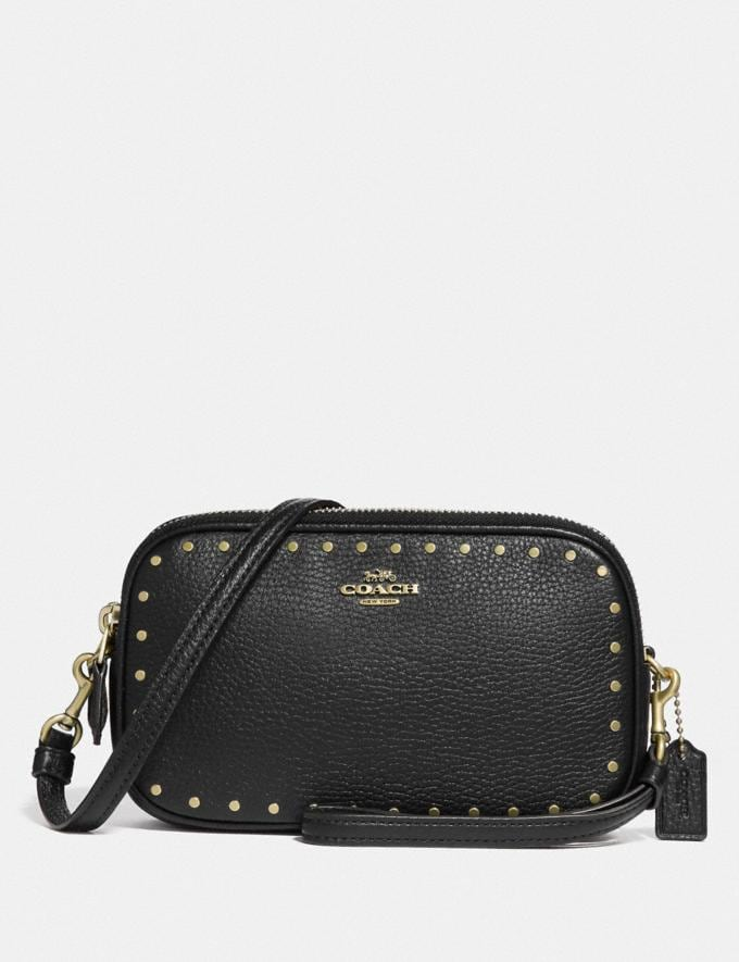 Coach Crossbody Clutch With Rivets Black/Brass CYBER MONDAY SALE Women's Sale Wallets & Wristlets