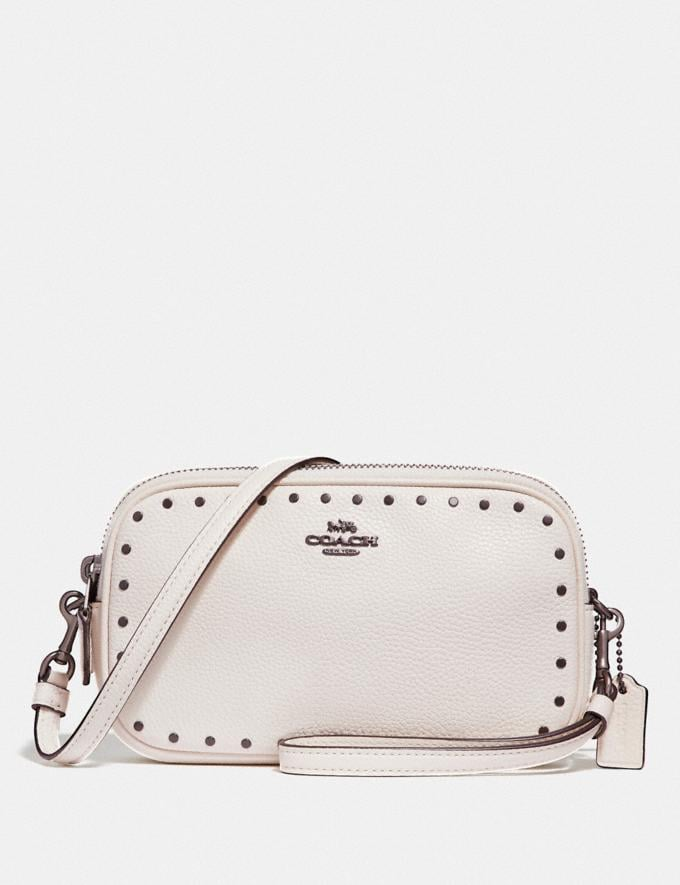 Coach Crossbody Clutch With Rivets Chalk/Black Copper CYBER MONDAY SALE Women's Sale Wallets & Wristlets