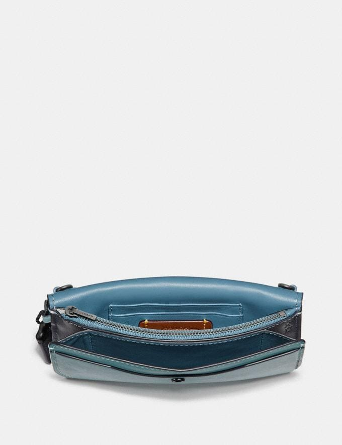Coach Clutch in Colorblock Signature Canvas Pewter/Tan Light Turquoise SALE Online Exclusives Alternate View 1