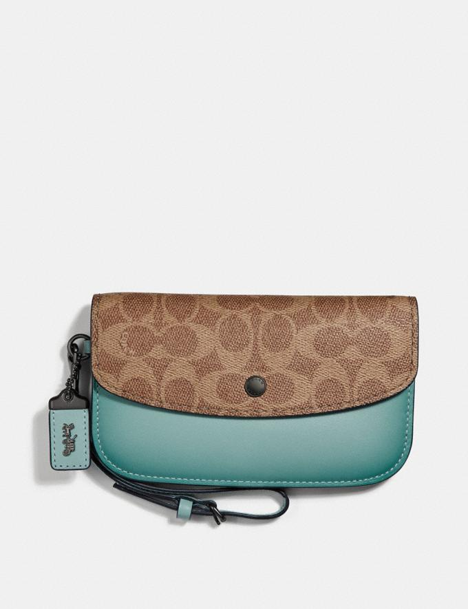 Coach Clutch in Colorblock Signature Canvas Pewter/Tan Light Turquoise SALE Online Exclusives