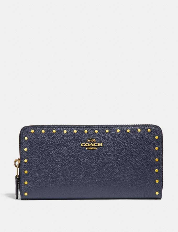 Coach Accordion Zip Wallet With Rivets Brass/Midnight Navy Women Small Leather Goods Large Wallets