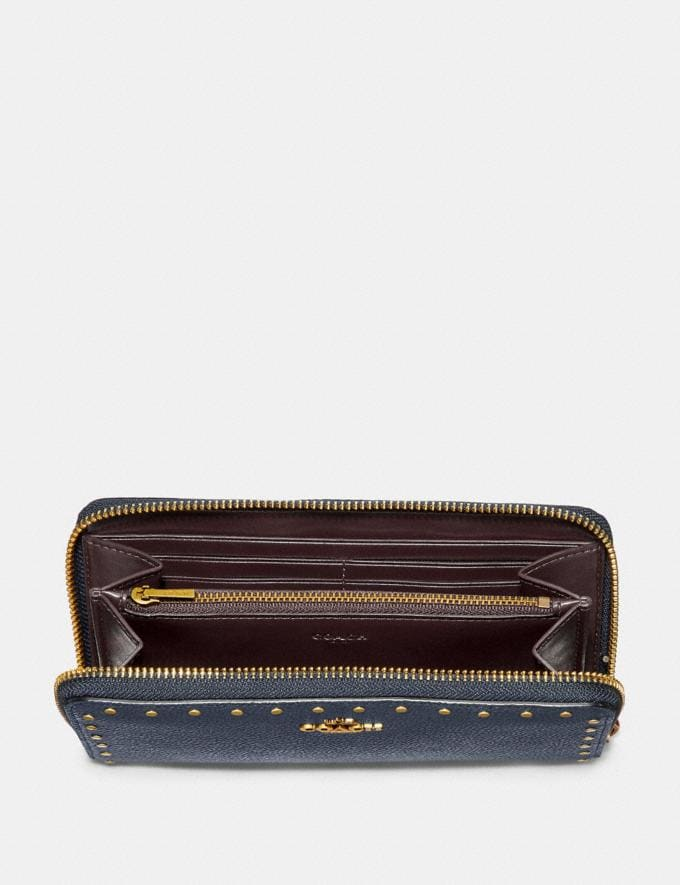 Coach Accordion Zip Wallet With Rivets Brass/Midnight Navy Women Small Leather Goods Large Wallets Alternate View 1