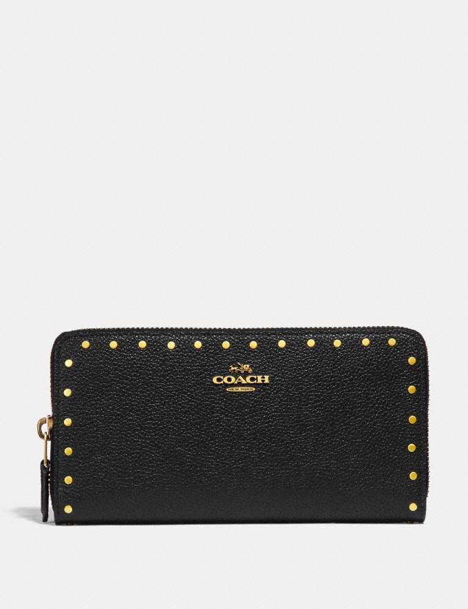Coach Accordion Zip Wallet With Rivets Black/Brass CYBER MONDAY SALE Women's Sale Wallets & Wristlets