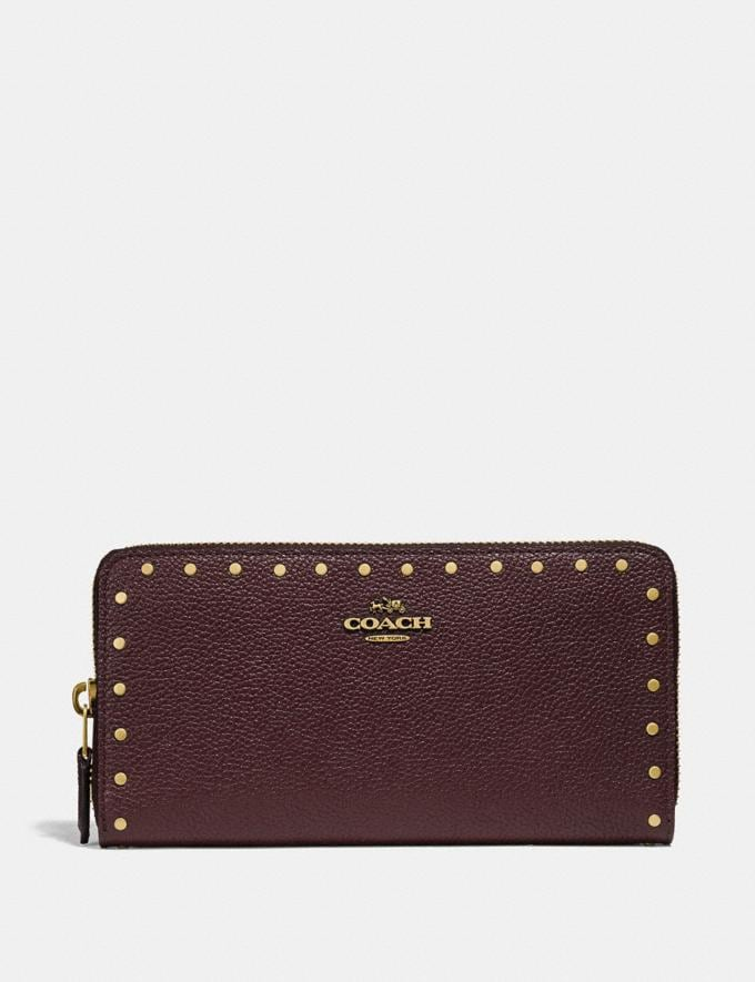 Coach Accordion Zip Wallet With Rivets Oxblood/Brass CYBER MONDAY SALE Women's Sale Wallets & Wristlets